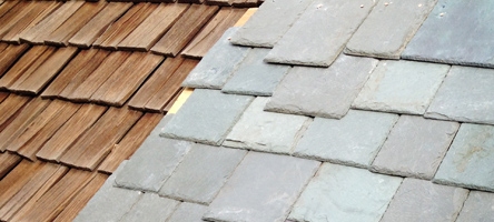 Cedar shake and SlateTec tile roof comparison